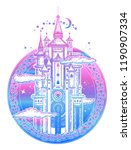 medieval castle tattoo art and... | Shutterstock .eps vector #1190907334