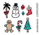 christmas icons set scary... | Shutterstock .eps vector #1190919307