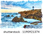 watercolour painting of penmon... | Shutterstock . vector #1190921374