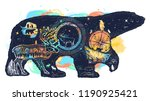 polar white bear watercolor... | Shutterstock .eps vector #1190925421