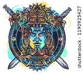 ancient aztec totem watercolor... | Shutterstock .eps vector #1190925427