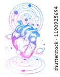 magic heart in space tattoo.... | Shutterstock .eps vector #1190925694