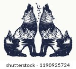 two wolves double exposure... | Shutterstock .eps vector #1190925724