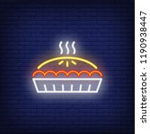 hot pie neon sign. thanksgiving ... | Shutterstock .eps vector #1190938447