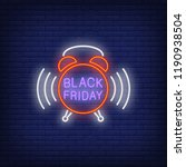 black friday neon text on alarm ... | Shutterstock .eps vector #1190938504
