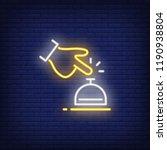hotel bell neon sign. luminous... | Shutterstock .eps vector #1190938804