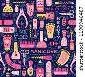 manicure seamless pattern. nail ... | Shutterstock . vector #1190946487