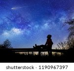 girl watching the stars in... | Shutterstock . vector #1190967397