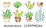 watercolor potted plants set... | Shutterstock . vector #1190998264