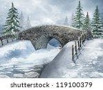 Snowy Landscape With A Bridge...