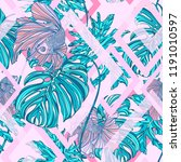 seamless pattern with tropical... | Shutterstock .eps vector #1191010597
