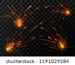 realistic fire sparks. spark... | Shutterstock .eps vector #1191029284