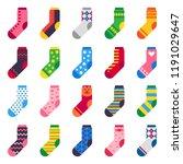 flat socks. long sock for child ... | Shutterstock .eps vector #1191029647