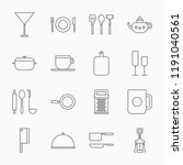 line dishes icons on a white... | Shutterstock .eps vector #1191040561