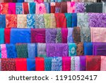 colorful fabric row background | Shutterstock . vector #1191052417