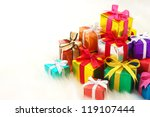 pile of gifts on white fake fur ...   Shutterstock . vector #119107444