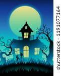 scary halloween haunted house... | Shutterstock .eps vector #1191077164