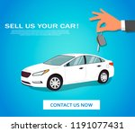 selling a new or used white car.... | Shutterstock .eps vector #1191077431