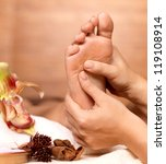 massage of human foot in spa... | Shutterstock . vector #119108914