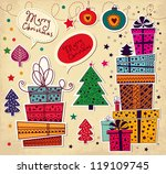 vintage christmas card with... | Shutterstock .eps vector #119109745