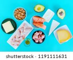 ketogenic diet food. low carb... | Shutterstock . vector #1191111631