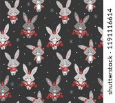 Stock vector seamless vector pattern with cute bunny with scarf and hat good for wallpaper pattern fills web 1191116614