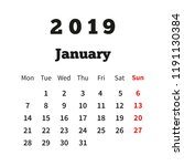 simple calendar on january 2019 ... | Shutterstock .eps vector #1191130384
