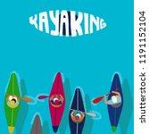 kayaking man vector. rafting.... | Shutterstock .eps vector #1191152104
