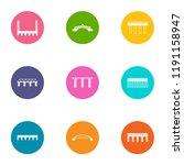 bridge crossing icons set. flat ...   Shutterstock .eps vector #1191158947