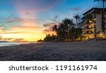 rayong beach with sunset and...   Shutterstock . vector #1191161974