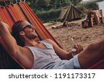 real relaxation. handsome young ... | Shutterstock . vector #1191173317