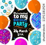 happy birthday party card with... | Shutterstock .eps vector #1191181924