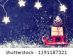 christmas red sled carry gift...   Shutterstock . vector #1191187321