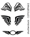 wings black icons set. three... | Shutterstock .eps vector #1191189661