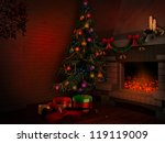 christmas tree and fireplace | Shutterstock . vector #119119009