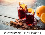 glass mugs of mulled wine with... | Shutterstock . vector #1191190441