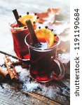 glass mugs of mulled wine with... | Shutterstock . vector #1191190684