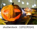 happy halloween  carved pumpkin ... | Shutterstock . vector #1191193141