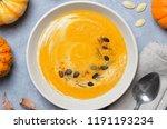 pumpkin soup with cream  dill... | Shutterstock . vector #1191193234