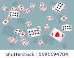 playing cards are falling down. ... | Shutterstock .eps vector #1191194704