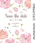 wedding save the date card... | Shutterstock .eps vector #1191199861