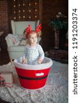 beautiful baby on christmas...   Shutterstock . vector #1191203374