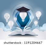 open book with light bulb and... | Shutterstock .eps vector #1191204667