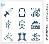 simple set of  9 outline icons... | Shutterstock . vector #1191205117