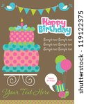 happy birthday cake card design.... | Shutterstock .eps vector #119122375