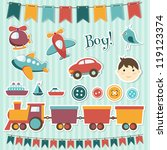 scrapbook baby boy set | Shutterstock .eps vector #119123374