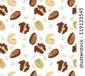 Seamless nuts pattern: walnut, pistachio, cashew, almond, pine nut.