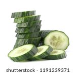cucumber slices  isolated on... | Shutterstock . vector #1191239371