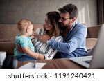 happy family young man and... | Shutterstock . vector #1191240421