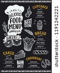bakery menu template for... | Shutterstock .eps vector #1191242221